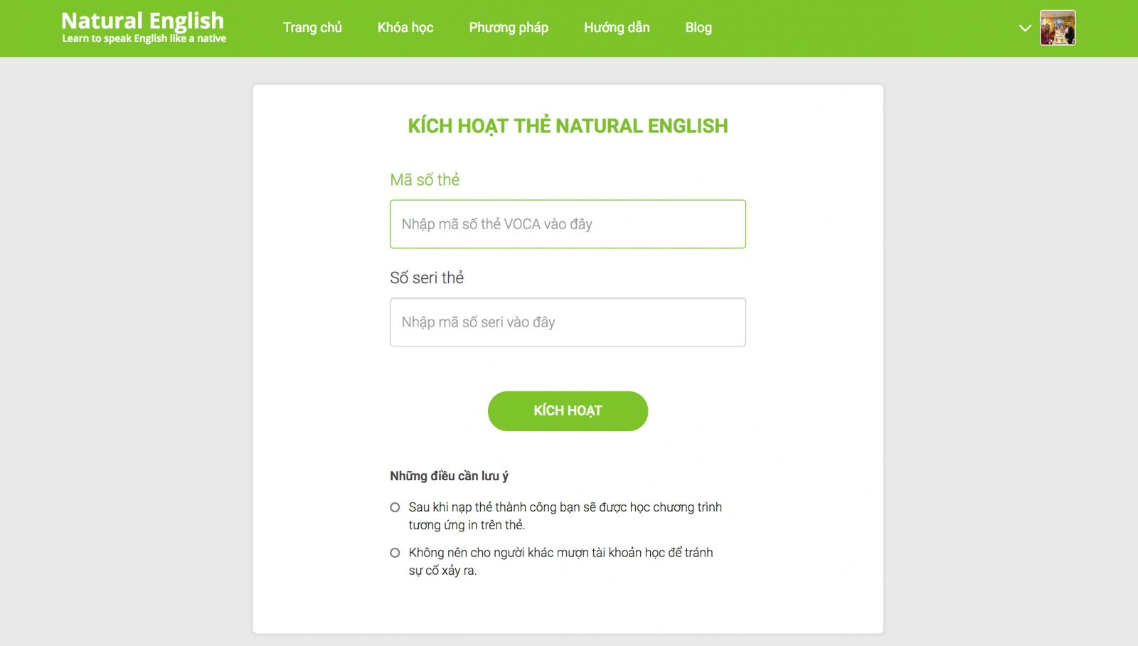 Kích hoạt thẻ Natural English System